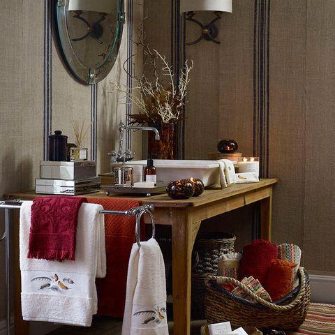 Room, Interior design, Interior design, Mirror, Home accessories, Linens, Picture frame, Wicker, Light fixture, Clothes hanger,