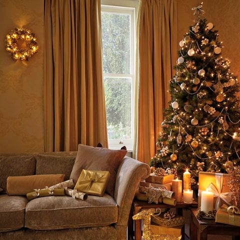 gold christmas tree - Gold Christmas Tree Decorating Ideas