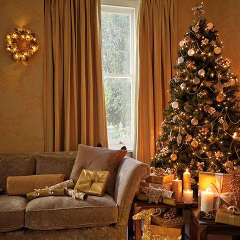 gold christmas tree - Gold Christmas Tree Decorating Ideas