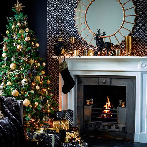 gold fireplace - Fireplace Christmas Decorations