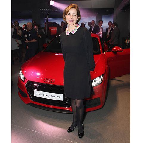 Automotive design, Event, Vehicle, Car, Red, Automotive lighting, Personal luxury car, Auto show, Dress, Performance car,
