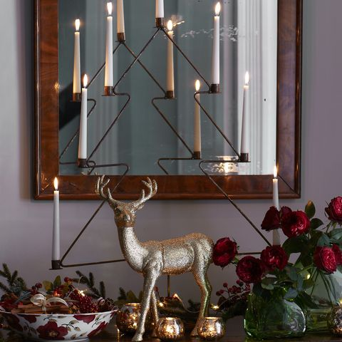 add a christmas tree candle holder - Christmas Hallway Decorating Ideas
