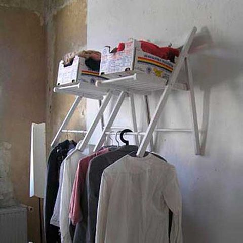 Room, Clothes hanger, Wall, Grey, Ladder, Shelving, Box, Plaster,