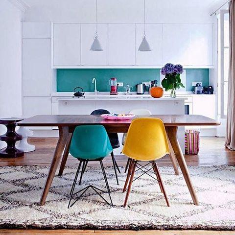 Room, Interior design, Floor, Furniture, Table, Wall, Flooring, Interior design, Turquoise, Light fixture,