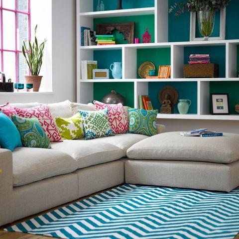 Blue, Green, Room, Interior design, Living room, Wall, Shelf, White, Home, Turquoise,