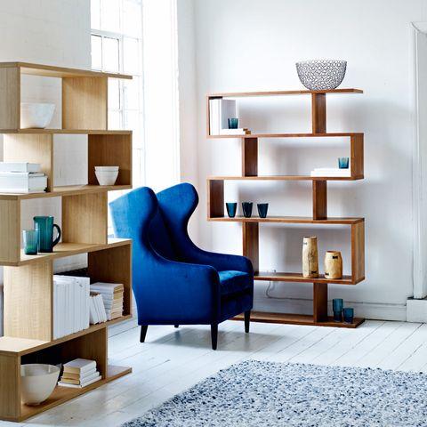 Blue, Wood, Room, Interior design, Wall, Floor, Flooring, Shelving, Interior design, Shelf,
