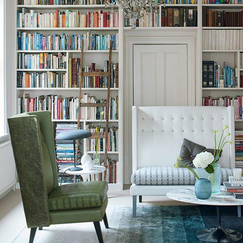 Blue, Shelf, Room, Interior design, Green, Wood, Shelving, Furniture, Bookcase, Publication,