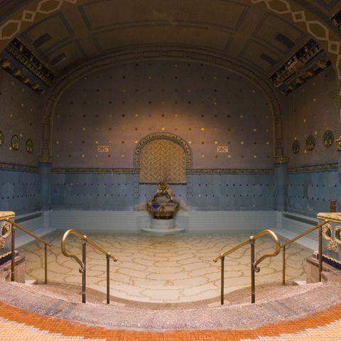 Interior design, Ceiling, Floor, Light fixture, Marble, Stairs, Symmetry, Tile, Decoration,