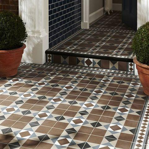 Floor, Flooring, Flowerpot, Tile, Property, Architecture, Tile flooring, Flagstone, Shrub, Fixture,