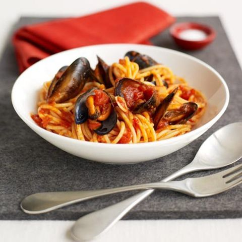 Food, Cuisine, Pasta, Ingredient, Dishware, Tableware, Kitchen utensil, Cutlery, Recipe, Spaghetti,