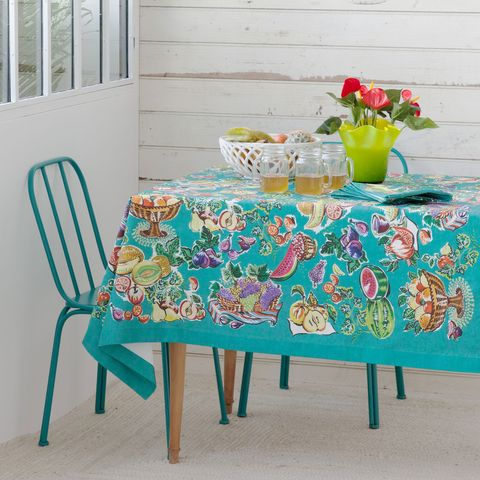 Tablecloth, Textile, Table, Furniture, Linens, Serveware, Teal, Turquoise, Home accessories, Dining room,