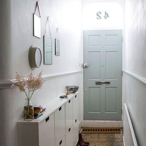 Green, Room, Wall, White, Floor, Door, Interior design, Home door, Drawer, Flooring,