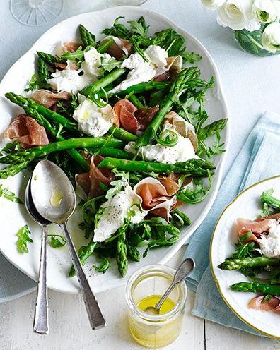 best asparagus recipes asparagus, burrata and prosciutto salad
