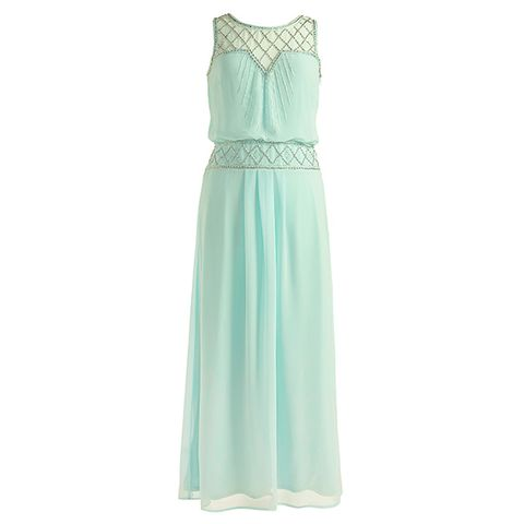Dress, Textile, One-piece garment, Formal wear, Style, Pattern, Teal, Aqua, Day dress, Turquoise,