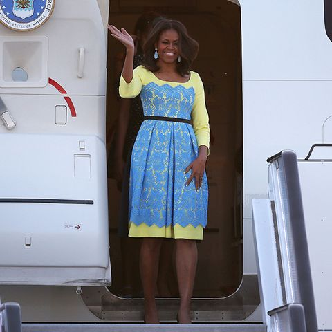 7c889d81583a3 2 of 28. image. The Preen dress. Michelle Obama arrived for her UK visit in  style ...