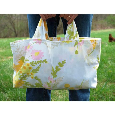 Textile, Bag, Denim, Luggage and bags, Shoulder bag, Shopping bag, Tote bag, Pattern, Meadow,
