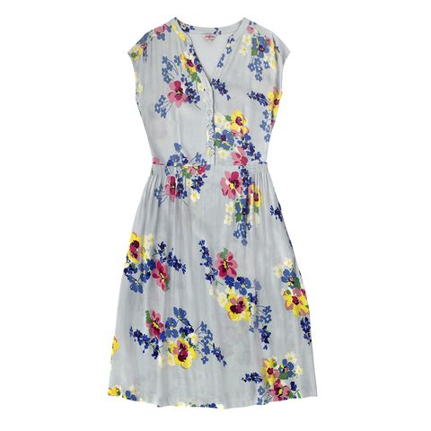 Blue, Yellow, Sleeve, Dress, Textile, Pattern, White, One-piece garment, Day dress, Aqua,