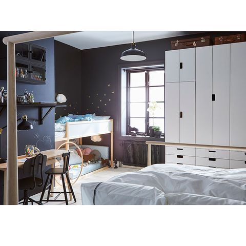 Furniture, White, Room, Bed, Bedroom, Interior design, Chest of drawers, Lighting, Ceiling, Wall,
