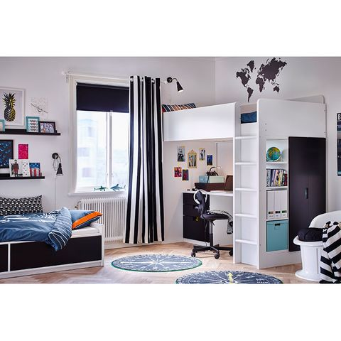 Furniture, Room, Interior design, Turquoise, Bed, Bedroom, Building, Cupboard, Wardrobe, Black-and-white,