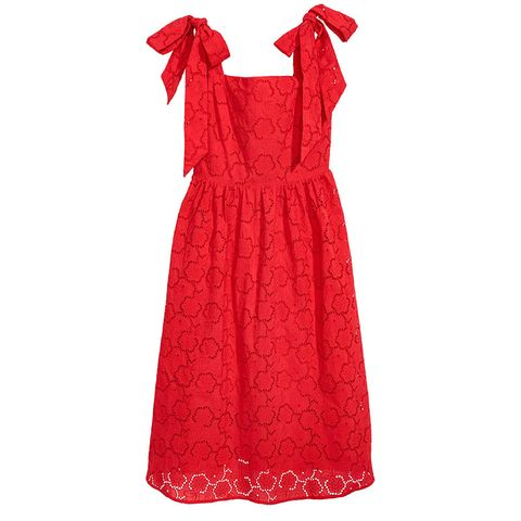 Clothing, Dress, Day dress, Red, Cocktail dress, Sleeve, One-piece garment, A-line, Neck, Gown,