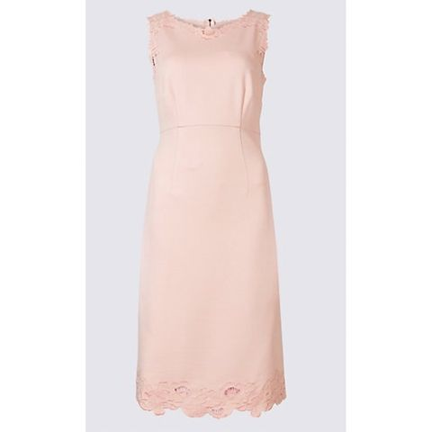 1f617db7993 Blush coloured occasion wear was a big hit with guests at the Royal wedding  and with this M S dress you can get in on the trend. The timeless shift  dress ...