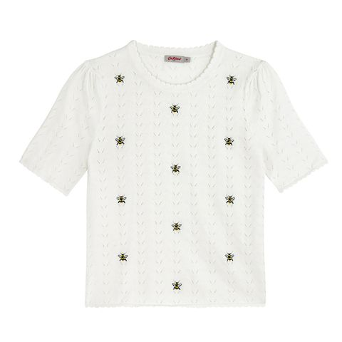 White, Clothing, Sleeve, T-shirt, Outerwear, Top, Pattern, Button,
