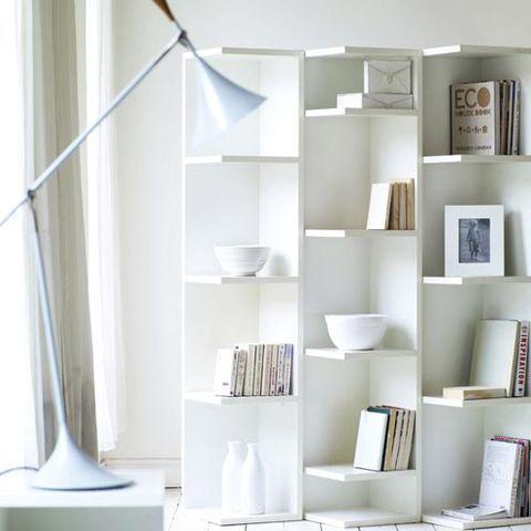 Room, Shelf, Shelving, Interior design, White, Wall, Grey, Porcelain, Collection, Publication,