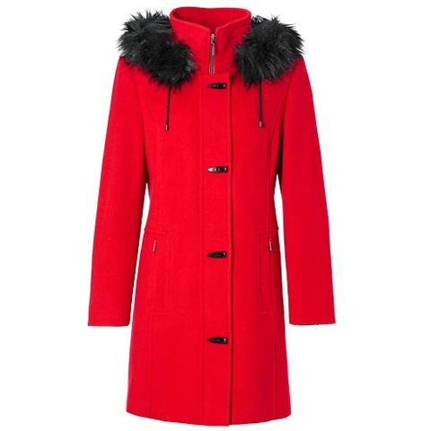 Clothing, Coat, Sleeve, Collar, Red, Textile, Outerwear, Natural material, Pattern, Fashion,