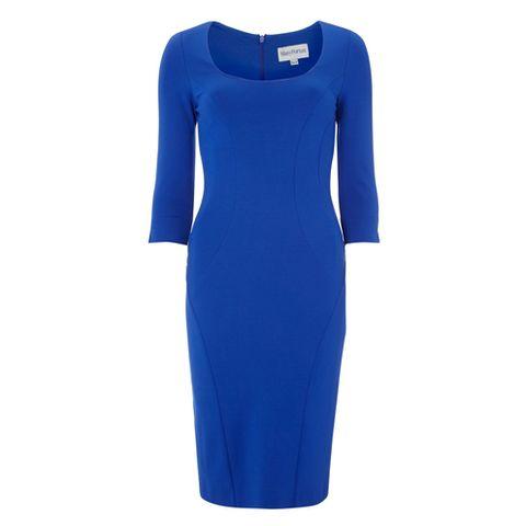Blue, Sleeve, Dress, Standing, Style, One-piece garment, Formal wear, Electric blue, Aqua, Pattern,