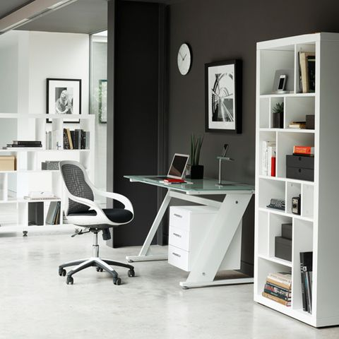 Room, Product, Office chair, Interior design, Floor, Furniture, White, Table, Shelf, Chair,