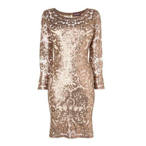 Brown, Sleeve, Textile, Dress, Pattern, Neck, One-piece garment, Day dress, Visual arts, Pattern,