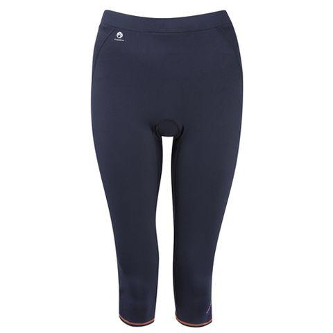 Sportswear, Textile, Joint, Human leg, Standing, Waist, Active pants, Tights, Azure, Black,
