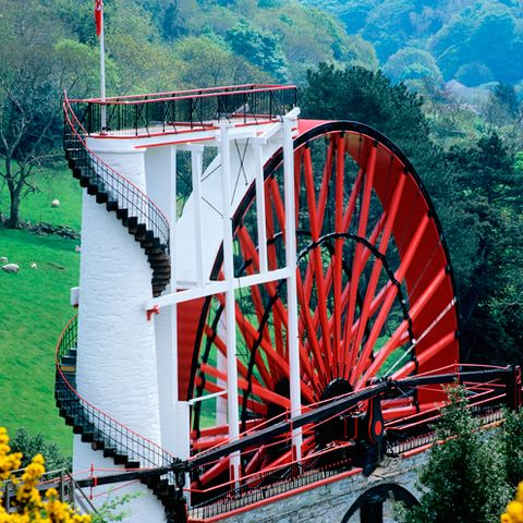 Infrastructure, paddlewheel, Red, Bridge, Gristmill, Spoke, Nonbuilding structure, Beam bridge, Tourist attraction, Girder bridge,