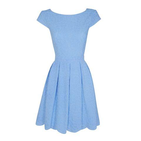 Blue, Dress, Textile, One-piece garment, Style, Pattern, Electric blue, Day dress, Aqua, Fashion,