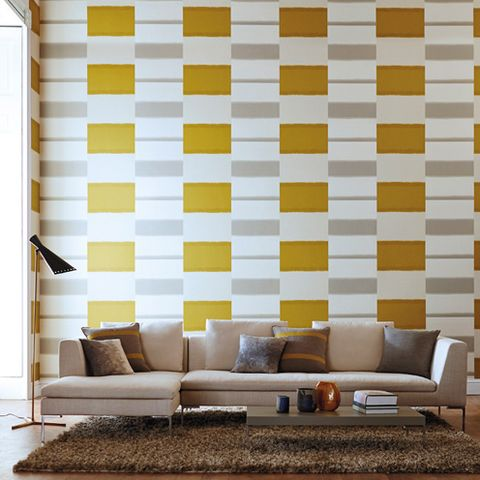 Brown, Yellow, Room, Interior design, Furniture, Wall, Couch, Living room, Floor, Rectangle,