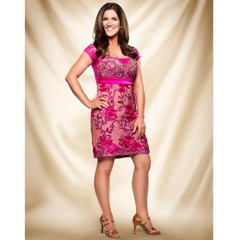 Human leg, Shoulder, Shoe, Dress, Joint, One-piece garment, Pink, Style, Magenta, Formal wear,
