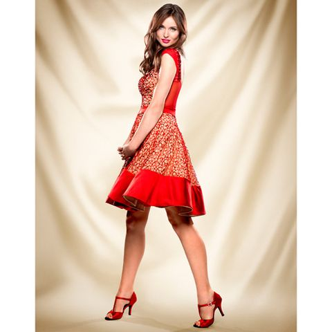 Human leg, Sleeve, Shoe, Shoulder, Red, Joint, High heels, Dress, Style, One-piece garment,