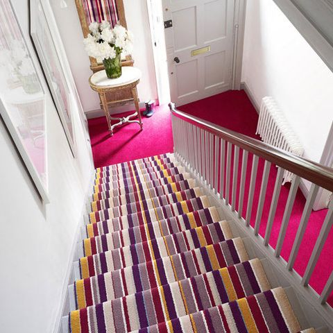 Floor, Flowerpot, Flooring, Room, Interior design, Property, Stairs, Home, Purple, Real estate,
