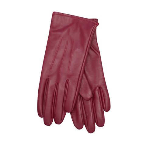 Safety glove, Glove, Sports gear, Personal protective equipment, Boot, Maroon, Bicycle clothing, Thumb, Formal gloves, Leather,