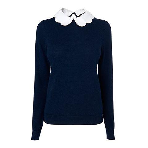 Sleeve, Collar, Neck, Electric blue, Sweater, Woolen, Mannequin, Fashion design, Active shirt, Pattern,