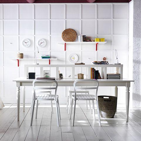 Product, Room, Interior design, Table, Furniture, Floor, Wall, Grey, Shelving, Desk,