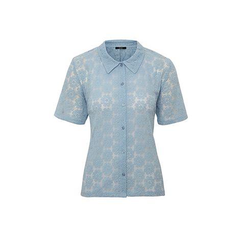 Blue, Product, Collar, Sleeve, Textile, White, Pattern, Fashion, Aqua, Teal,