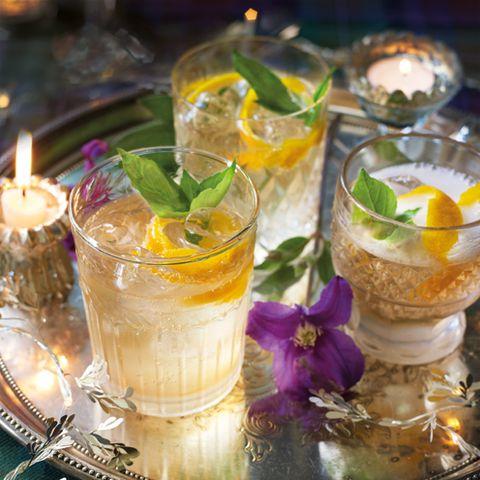best cocktail recipes orange and basil sparkler cocktail