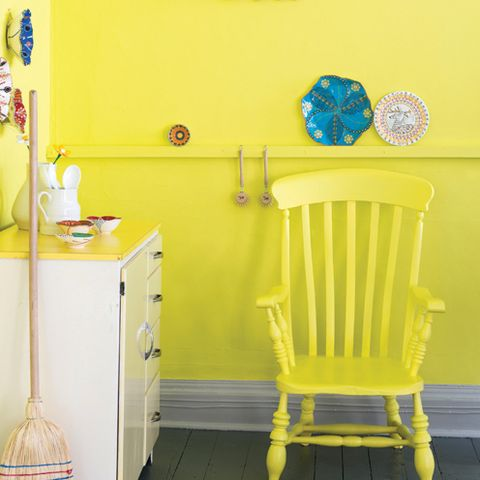Yellow, Room, Furniture, Cabinetry, Drawer, Chair, Teal, Turquoise, Cupboard, Paint,