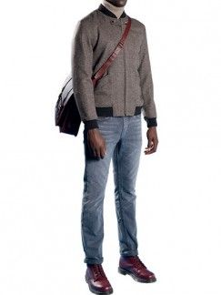 Clothing, Product, Brown, Sleeve, Collar, Trousers, Denim, Textile, Standing, Joint,