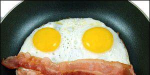 Fried egg, Food, Egg yolk, Meal, Ingredient, Breakfast, Meat, Dish, Pork, Animal product,