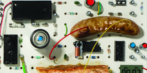 Cuisine, Food, Technology, Electronic component, Ingredient, Bockwurst, Circuit component, Meat, Knackwurst, Sausage,