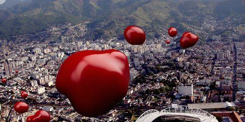 Daytime, Red, Urban area, Metropolitan area, Landmark, Carmine, Cityscape, World, Heart, Love,