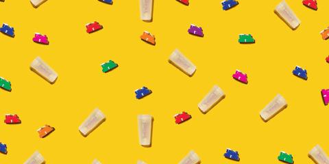 Yellow, Colorfulness, Orange, Magenta, Toy block, Square, Paper product,