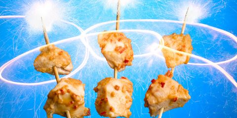 Finger food, appetizer, Space, Skewer, Brochette, Dish, Hors d'oeuvre, Pincho, Recipe, Fast food,